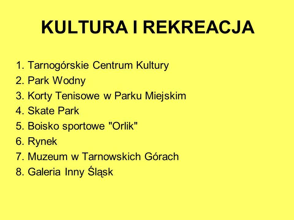 KULTURA I REKREACJA 1. Tarnogórskie Centrum Kultury 2. Park Wodny 3. Korty Tenisowe w Parku Miejskim 4. Skate Park 5. Boisko sportowe