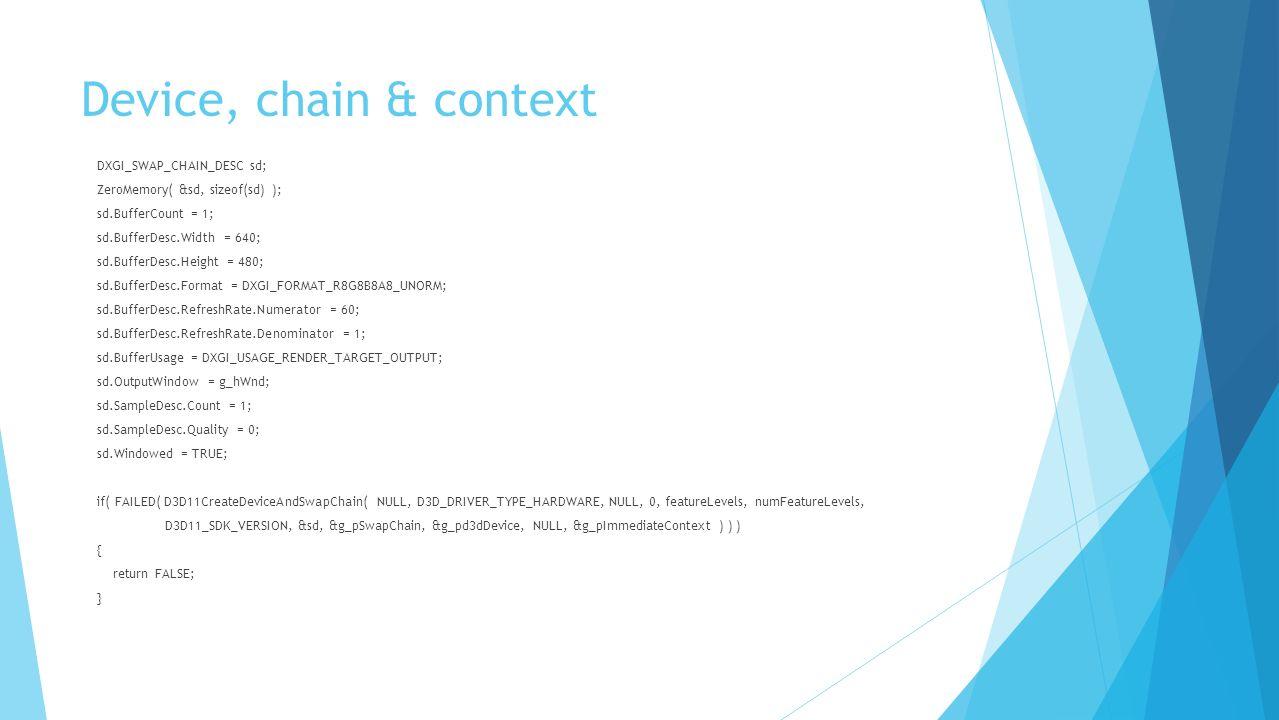 Device, chain & context DXGI_SWAP_CHAIN_DESC sd; ZeroMemory( &sd, sizeof(sd) ); sd.BufferCount = 1; sd.BufferDesc.Width = 640; sd.BufferDesc.Height =