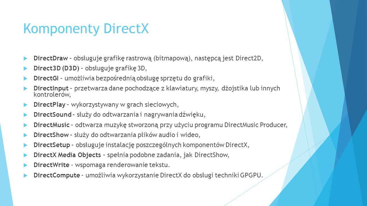 Komponenty DirectX DirectDraw – obsługuje grafikę rastrową (bitmapową), następcą jest Direct2D, Direct3D (D3D) – obsługuje grafikę 3D, DirectGI – umożliwia bezpośrednią obsługę sprzętu do grafiki, DirectInput – przetwarza dane pochodzące z klawiatury, myszy, dżojstika lub innych kontrolerów, DirectPlay – wykorzystywany w grach sieciowych, DirectSound – służy do odtwarzania i nagrywania dźwięku, DirectMusic – odtwarza muzykę stworzoną przy użyciu programu DirectMusic Producer, DirectShow – służy do odtwarzania plików audio i wideo, DirectSetup – obsługuje instalację poszczególnych komponentów DirectX, DirectX Media Objects – spełnia podobne zadania, jak DirectShow, DirectWrite - wspomaga renderowanie tekstu.