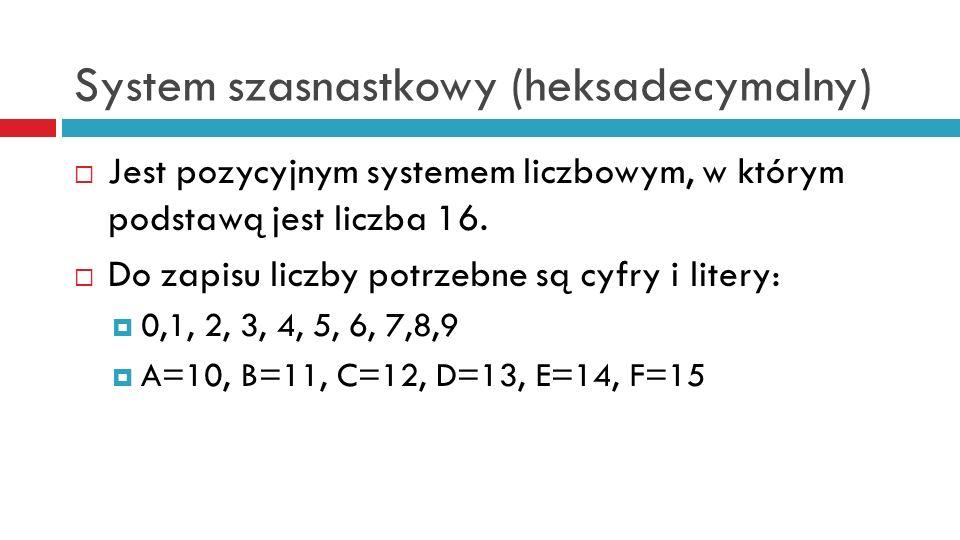 System szasnastkowy (heksadecymalny) Jest pozycyjnym systemem liczbowym, w którym podstawą jest liczba 16. Do zapisu liczby potrzebne są cyfry i liter