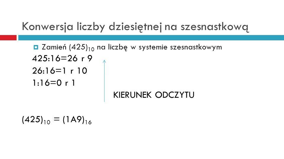 Konwersja liczby dziesiętnej na szesnastkową Zamień (425) 10 na liczbę w systemie szesnastkowym 425:16=26 r 9 26:16=1 r 10 1:16=0 r 1 KIERUNEK ODCZYTU