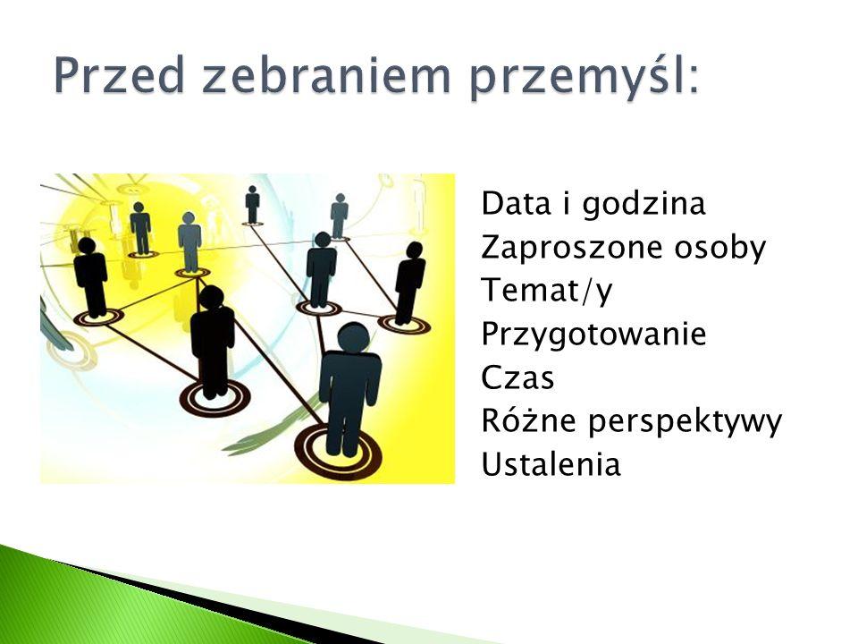 Data i godzina Zaproszone osoby Temat/y Przygotowanie Czas Różne perspektywy Ustalenia