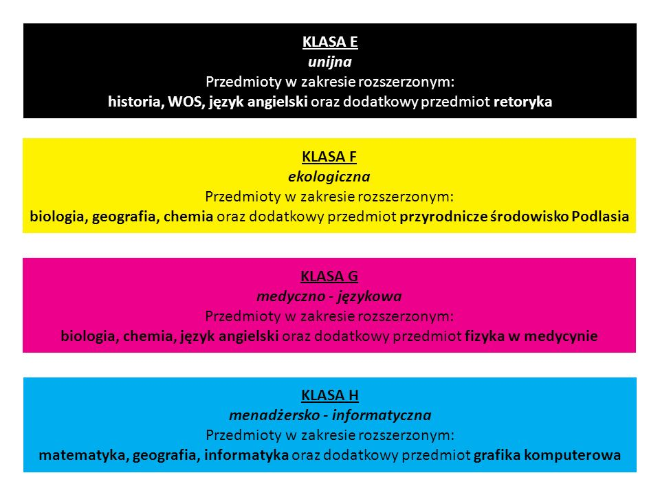 KLASA H menadżersko - informatyczna Przedmioty w zakresie rozszerzonym: matematyka, geografia, informatyka oraz dodatkowy przedmiot grafika komputerow