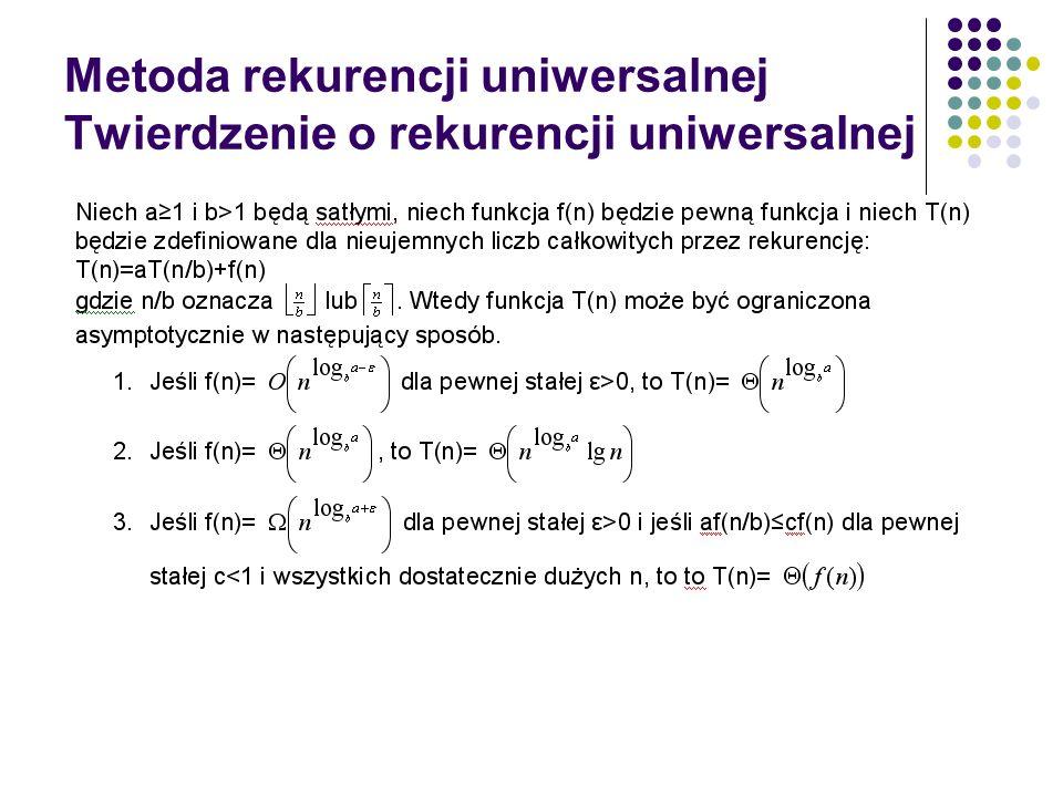 Metoda rekurencji uniwersalnej Twierdzenie o rekurencji uniwersalnej