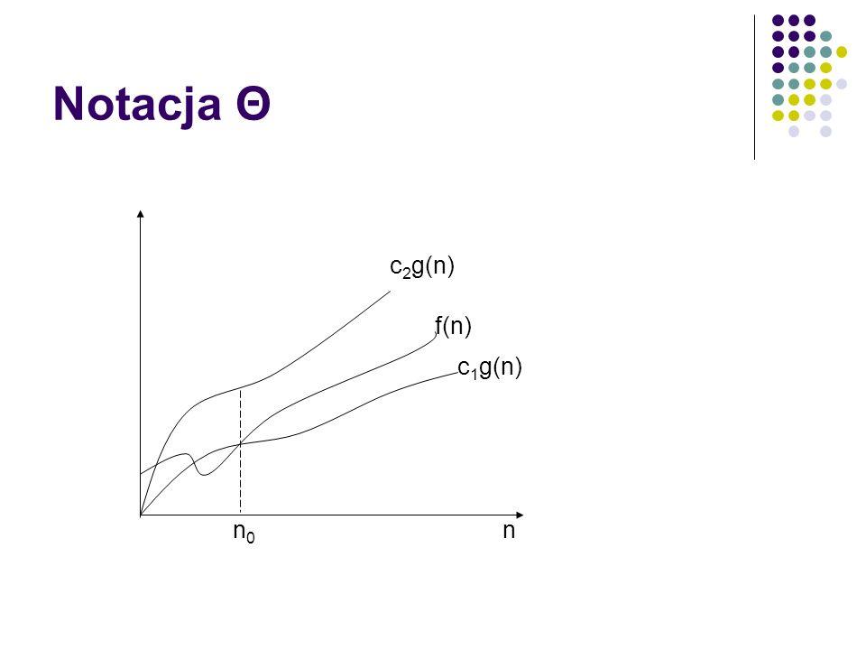 Notacja Θ c 2 g(n) c 1 g(n) f(n) n n0n0