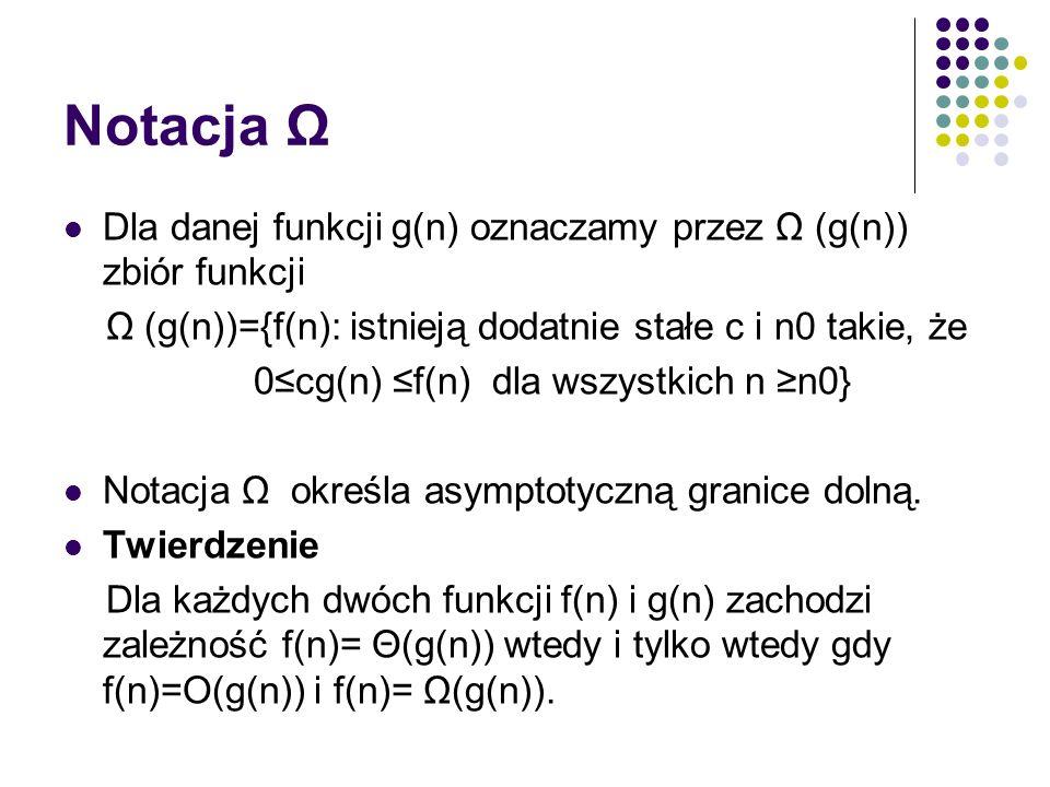 Notacja Ω Dla danej funkcji g(n) oznaczamy przez Ω (g(n)) zbiór funkcji Ω (g(n))={f(n): istnieją dodatnie stałe c i n0 takie, że 0cg(n) f(n) dla wszys