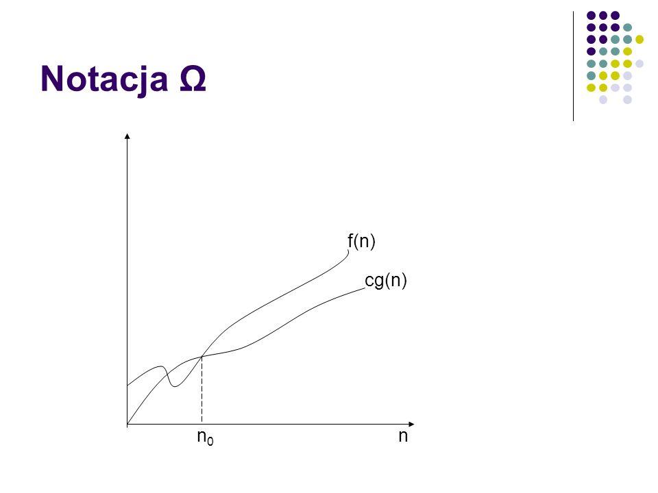 Notacja Ω cg(n) f(n) n n0n0