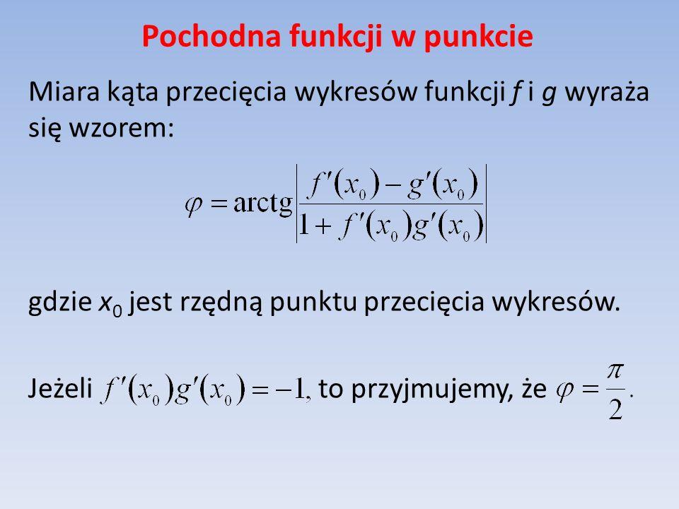 Pochodna funkcji w punkcie Miara kąta przecięcia wykresów funkcji f i g wyraża się wzorem: gdzie x 0 jest rzędną punktu przecięcia wykresów. Jeżeli to