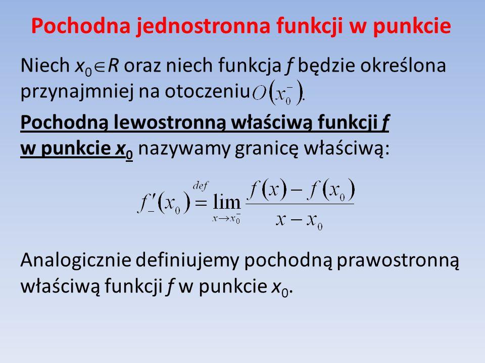 Pochodna jednostronna funkcji w punkcie Niech x 0 R oraz niech funkcja f będzie określona przynajmniej na otoczeniu Pochodną lewostronną właściwą funk
