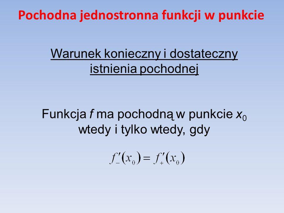 Pochodna jednostronna funkcji w punkcie Warunek konieczny i dostateczny istnienia pochodnej Funkcja f ma pochodną w punkcie x 0 wtedy i tylko wtedy, g