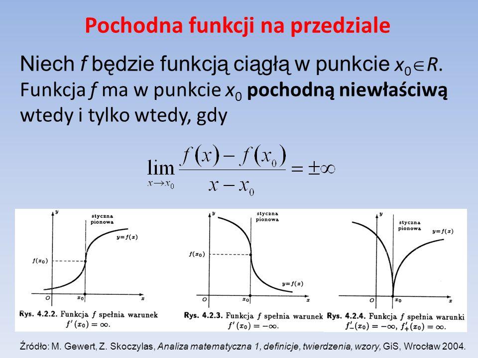 Pochodna funkcji na przedziale Niech f będzie funkcją ciągłą w punkcie x 0 R. Funkcja f ma w punkcie x 0 pochodną niewłaściwą wtedy i tylko wtedy, gdy