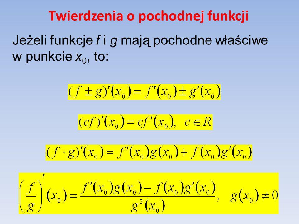Twierdzenia o pochodnej funkcji Jeżeli funkcje f i g mają pochodne właściwe w punkcie x 0, to: