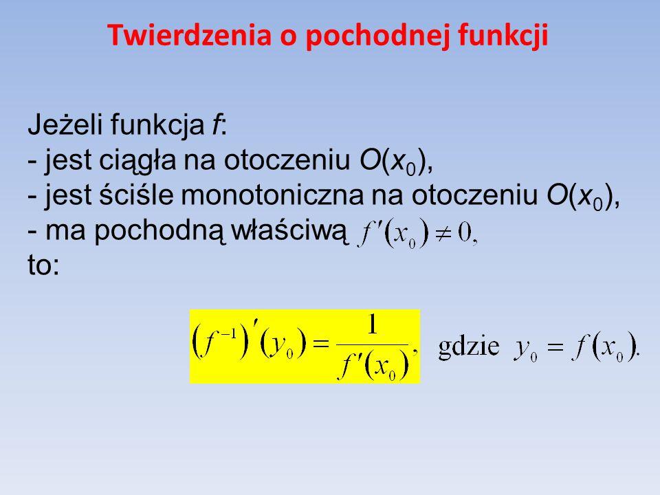 Twierdzenia o pochodnej funkcji Jeżeli funkcja f: - jest ciągła na otoczeniu O(x 0 ), - jest ściśle monotoniczna na otoczeniu O(x 0 ), - ma pochodną w