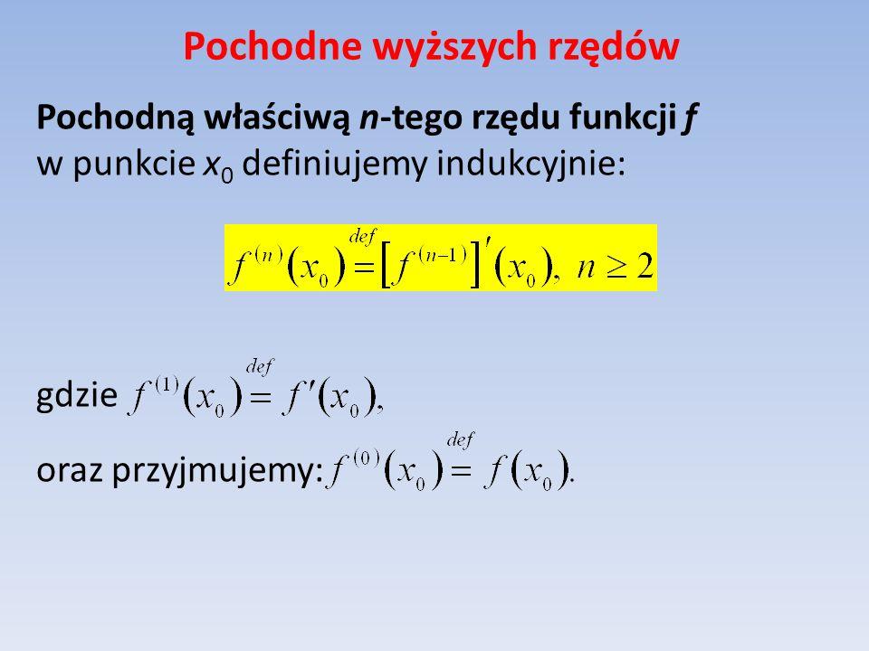 Pochodne wyższych rzędów Pochodną właściwą n-tego rzędu funkcji f w punkcie x 0 definiujemy indukcyjnie: gdzie oraz przyjmujemy: