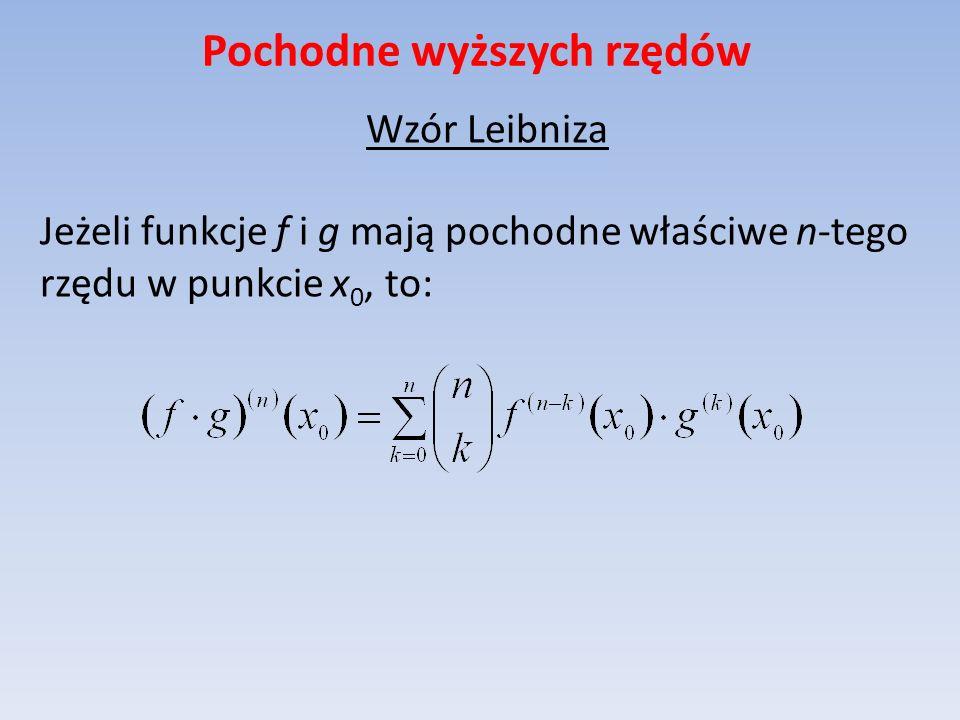 Pochodne wyższych rzędów Wzór Leibniza Jeżeli funkcje f i g mają pochodne właściwe n-tego rzędu w punkcie x 0, to: