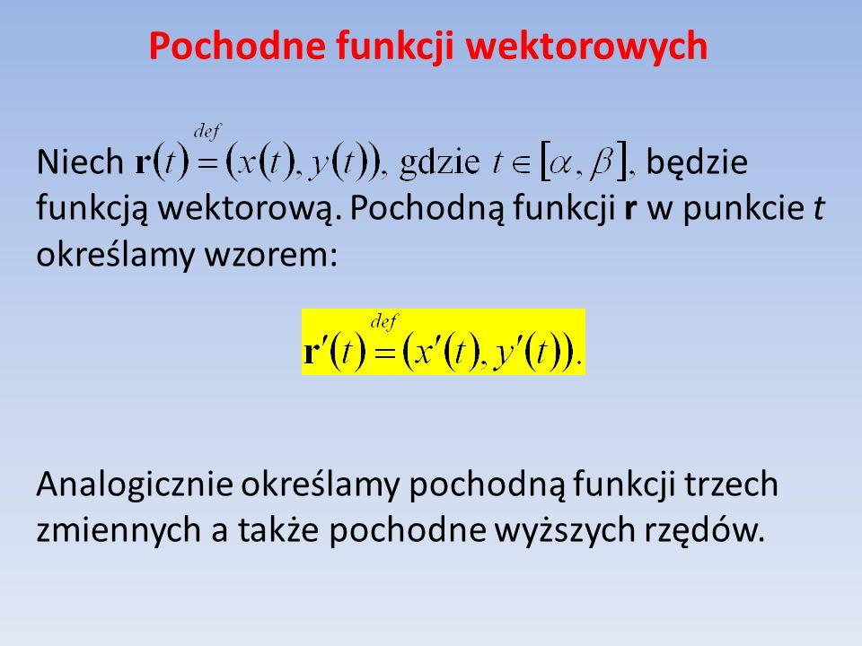 Pochodne funkcji wektorowych Niech będzie funkcją wektorową. Pochodną funkcji r w punkcie t określamy wzorem: Analogicznie określamy pochodną funkcji