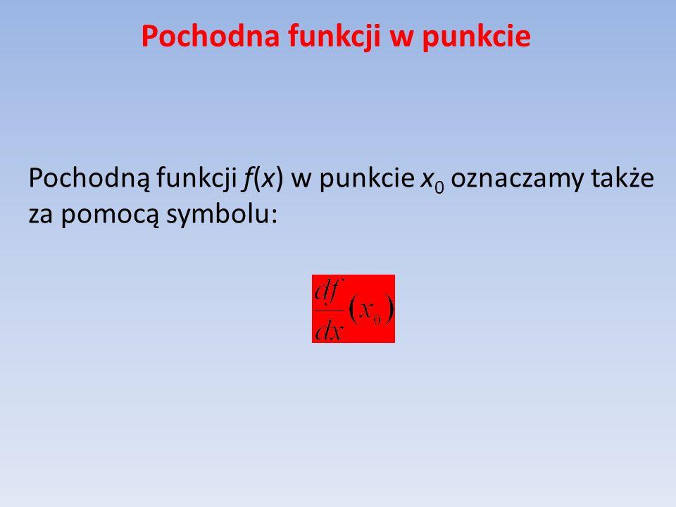 Pochodna funkcji w punkcie Pochodną funkcji f(x) w punkcie x 0 oznaczamy także za pomocą symbolu: