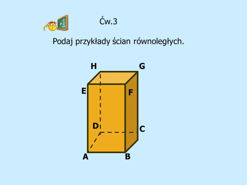 G A B C D E F H Ćw.3 Podaj przykłady ścian równoległych.