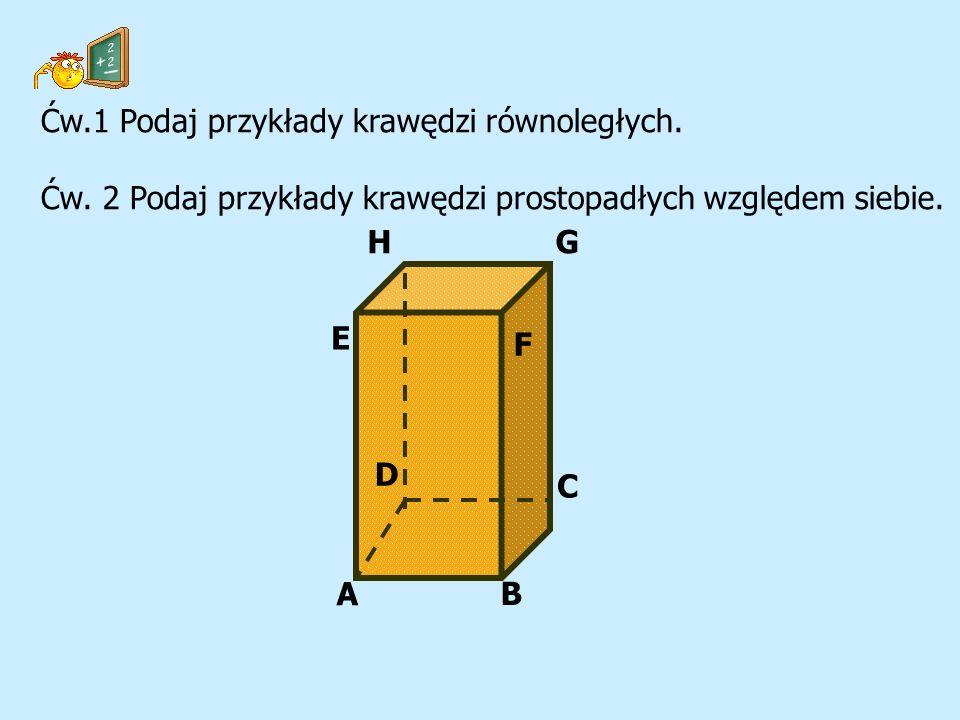 G A B C D E F H Ćw.1 Podaj przykłady krawędzi równoległych. Ćw. 2 Podaj przykłady krawędzi prostopadłych względem siebie.