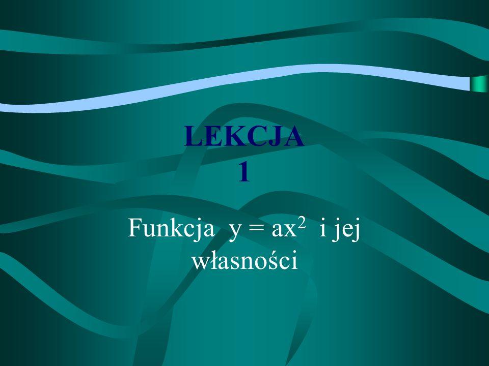 LEKCJA 1 Funkcja y = ax 2 i jej własności