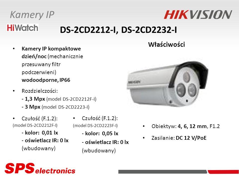 Kamery IP kompaktowe dzień/noc (mechanicznie przesuwany filtr podczerwieni) wodoodporne, IP66 Rozdzielczości: - 1,3 Mpx (model DS-2CD2212F-I) - 3 Mpx