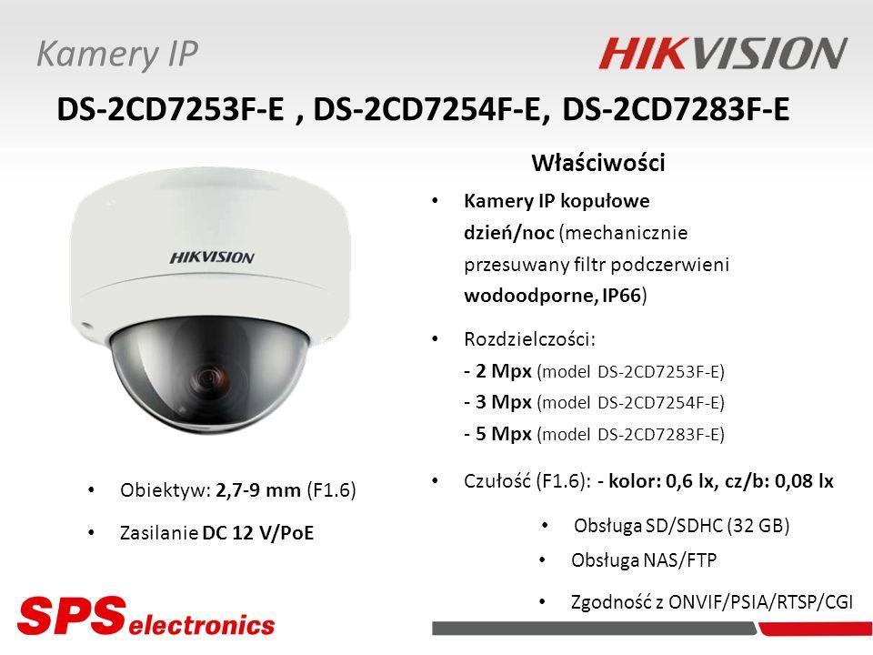 Kamery IP kopułowe dzień/noc (mechanicznie przesuwany filtr podczerwieni wodoodporne, IP66) Rozdzielczości: - 2 Mpx (model DS-2CD7253F-E) - 3 Mpx (mod