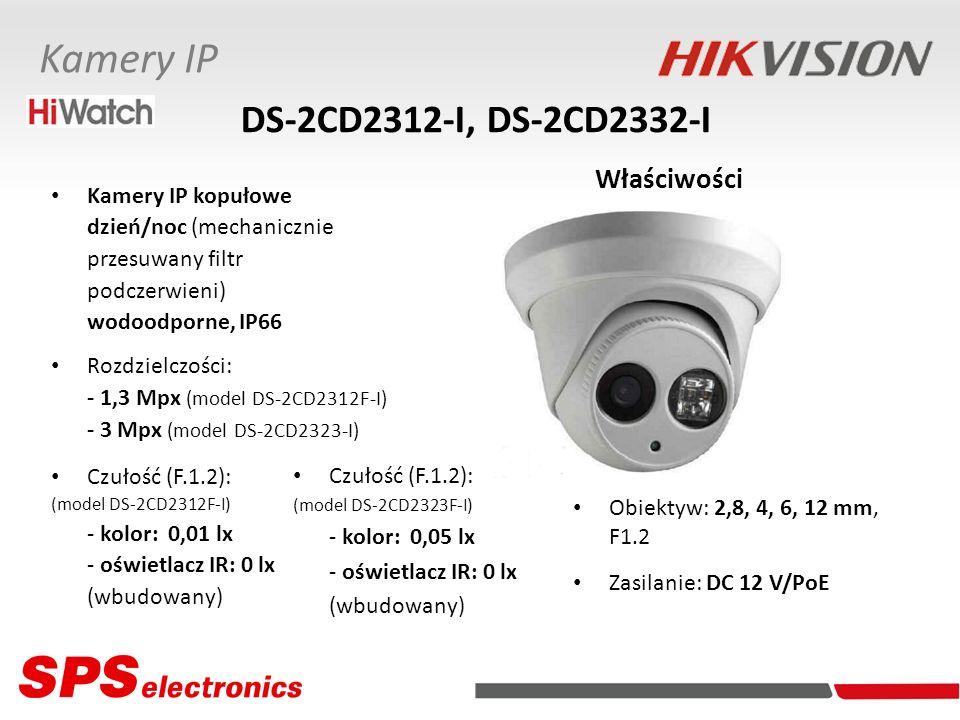 Kamery IP kopułowe dzień/noc (mechanicznie przesuwany filtr podczerwieni) wodoodporne, IP66 Rozdzielczości: - 1,3 Mpx (model DS-2CD2312F-I) - 3 Mpx (m