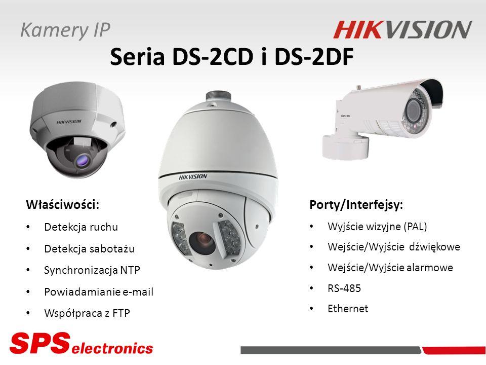 Porty/Interfejsy: Wyjście wizyjne (PAL) Wejście/Wyjście dźwiękowe Wejście/Wyjście alarmowe RS-485 Ethernet Właściwości: Detekcja ruchu Detekcja sabota