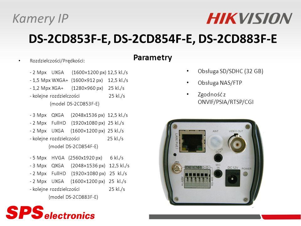 Rozdzielczości/Prędkości: - 2 Mpx UXGA (1600×1200 px) 12,5 kl./s - 1,5 Mpx WXGA+ (1600×912 px) 12,5 kl./s - 1,2 Mpx XGA+ (1280×960 px) 25 kl./s - kole