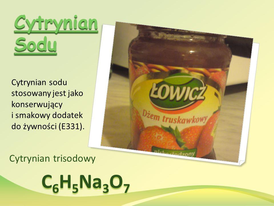 Cytrynian trisodowy Cytrynian sodu stosowany jest jako konserwujący i smakowy dodatek do żywności (E331).