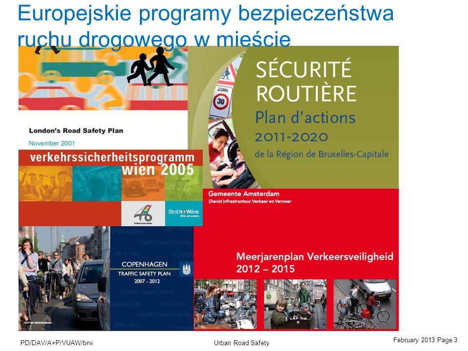 February 2013 Page 14 Urban Road SafetyPD/DAV/A+P/VUAW/brw Bezpieczne funkcjonowanie dróg