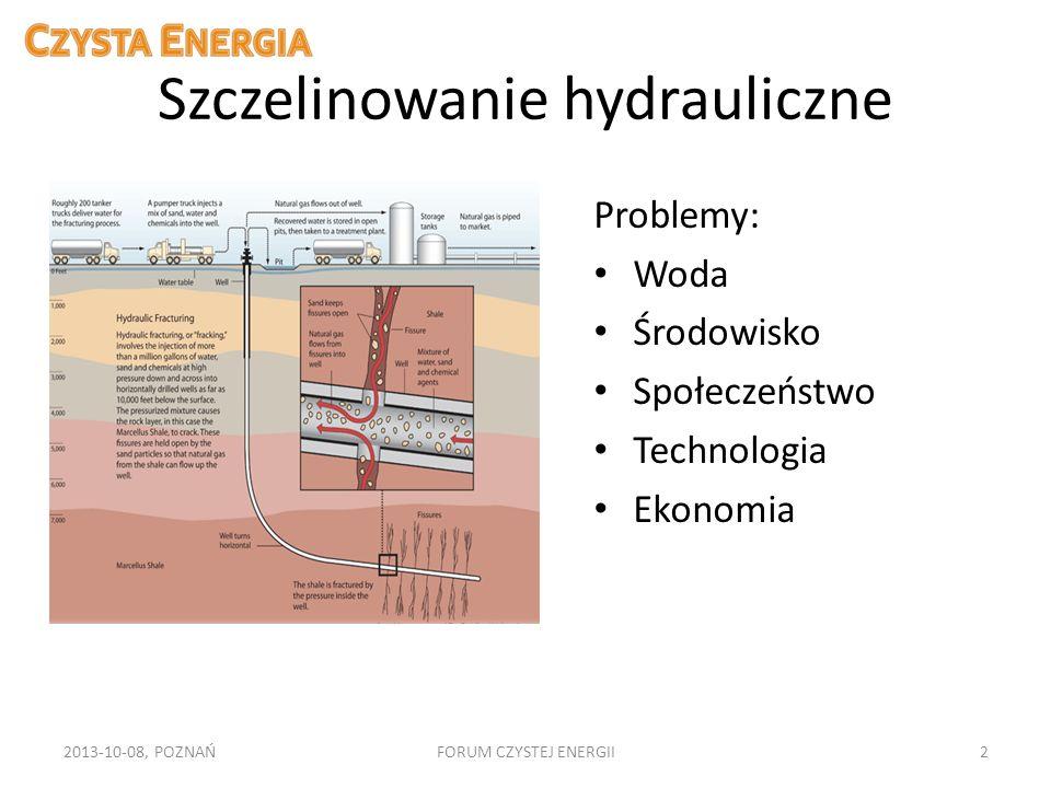 Szczelinowanie hydrauliczne Problemy: Woda Środowisko Społeczeństwo Technologia Ekonomia 2013-10-08, POZNAŃFORUM CZYSTEJ ENERGII2