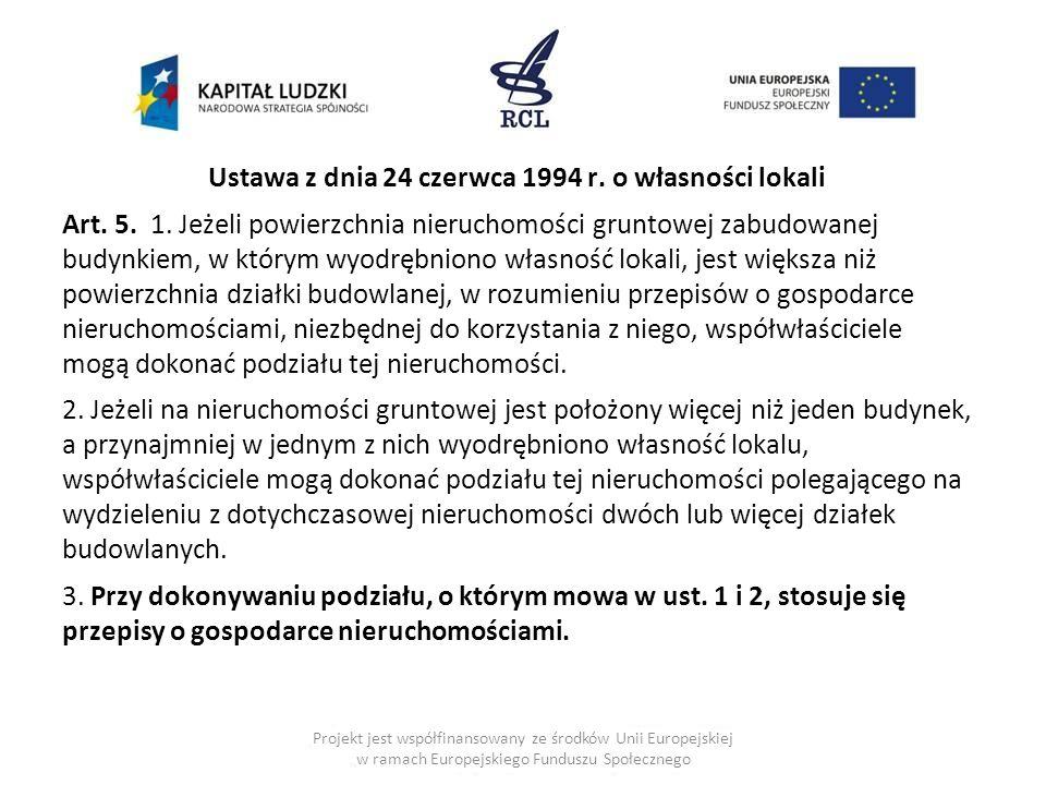 Ustawa z dnia 24 czerwca 1994 r. o własności lokali Art.