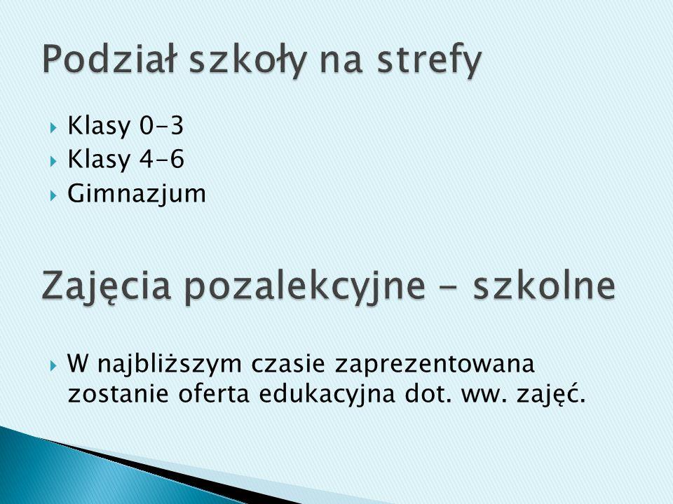 Klasy 0-3 Klasy 4-6 Gimnazjum W najbliższym czasie zaprezentowana zostanie oferta edukacyjna dot. ww. zajęć.