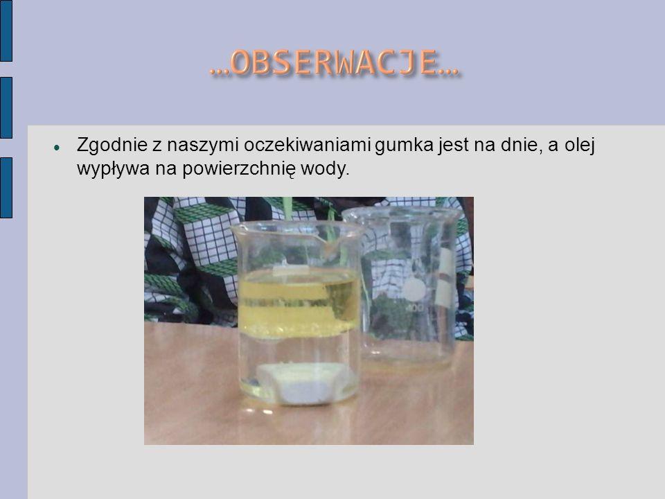 Zgodnie z naszymi oczekiwaniami gumka jest na dnie, a olej wypływa na powierzchnię wody.