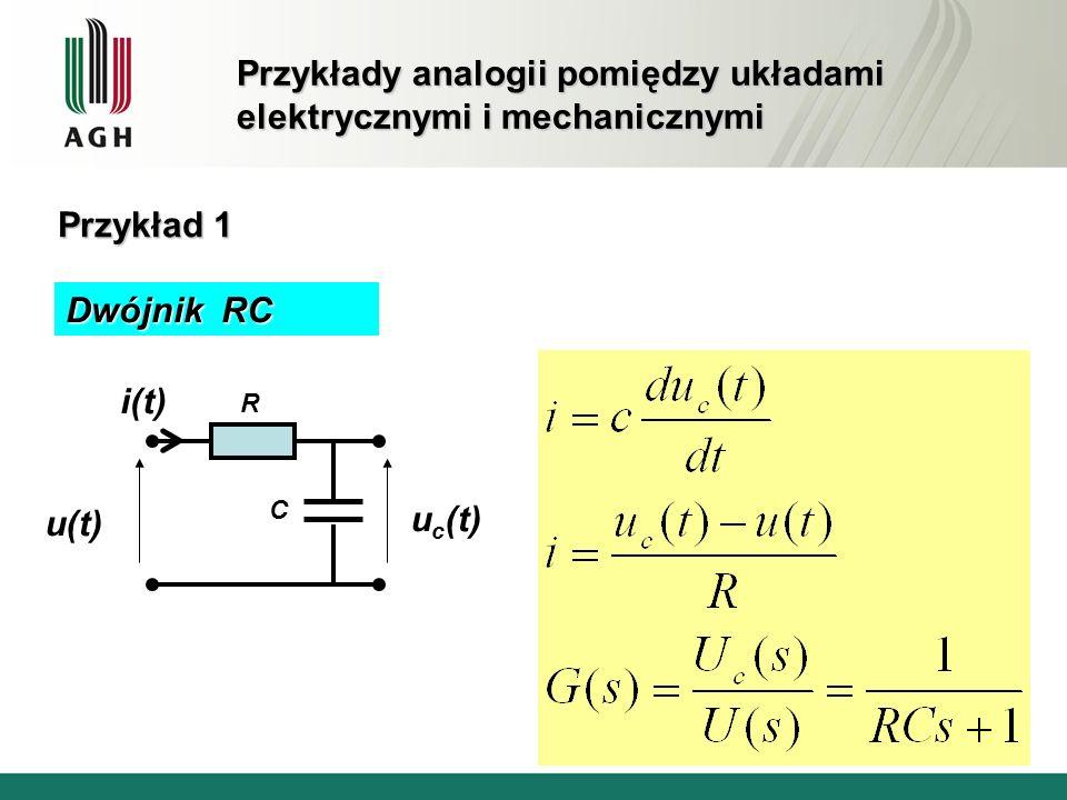 Przykłady analogii pomiędzy układami elektrycznymi i mechanicznymi Przykład 1 u(t) u c (t) i(t) R C Dwójnik RC
