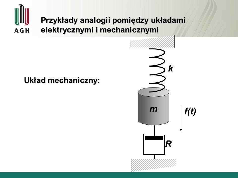 Przykłady analogii pomiędzy układami elektrycznymi i mechanicznymi Układ mechaniczny: m k R f(t)