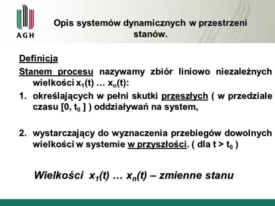 Opis systemów dynamicznych w przestrzeni stanów. Definicja Stanem procesu nazywamy zbiór liniowo niezależnych wielkości x 1 (t) … x n (t): 1.określają