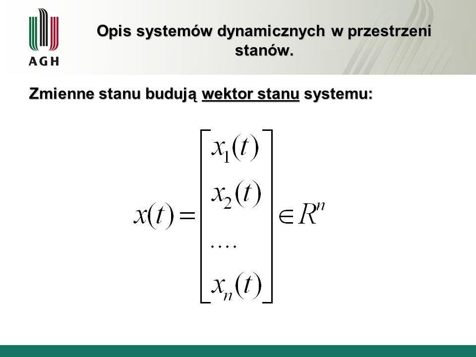 Opis systemów dynamicznych w przestrzeni stanów. Zmienne stanu budują wektor stanu systemu: