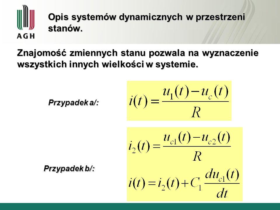 Opis systemów dynamicznych w przestrzeni stanów. Znajomość zmiennych stanu pozwala na wyznaczenie wszystkich innych wielkości w systemie. Przypadek a/