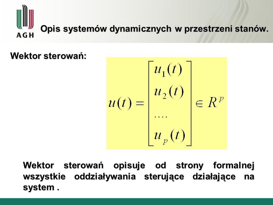 Opis systemów dynamicznych w przestrzeni stanów. Wektor sterowań: Wektor sterowań opisuje od strony formalnej wszystkie oddziaływania sterujące działa