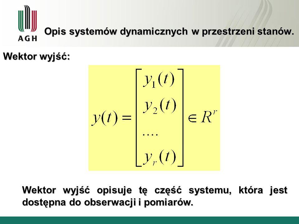 Opis systemów dynamicznych w przestrzeni stanów. Wektor wyjść: Wektor wyjść opisuje tę część systemu, która jest dostępna do obserwacji i pomiarów.