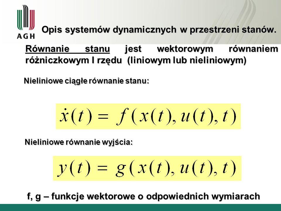 Opis systemów dynamicznych w przestrzeni stanów. Nieliniowe ciągłe równanie stanu: Nieliniowe równanie wyjścia: f, g – funkcje wektorowe o odpowiednic