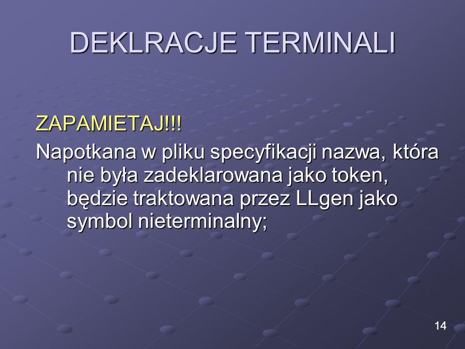DEKLRACJE TERMINALI ZAPAMIETAJ!!! Napotkana w pliku specyfikacji nazwa, która nie była zadeklarowana jako token, będzie traktowana przez LLgen jako sy