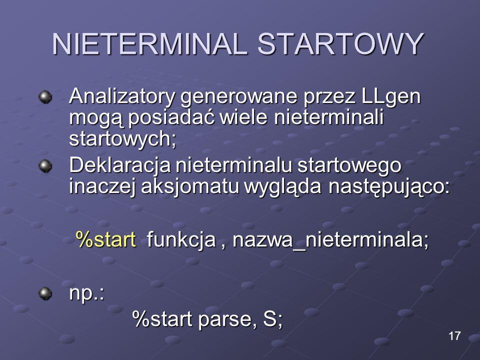 NIETERMINAL STARTOWY Analizatory generowane przez LLgen mogą posiadać wiele nieterminali startowych; Deklaracja nieterminalu startowego inaczej aksjom