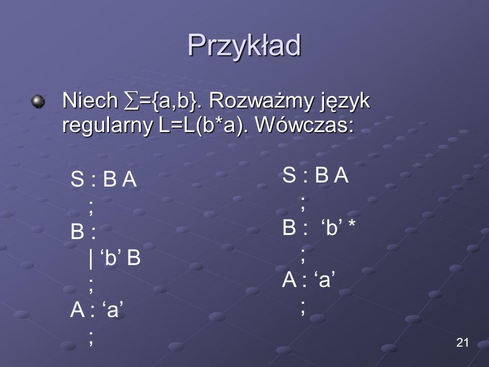 Przykład Niech ={a,b}. Rozważmy język regularny L=L(b*a). Wówczas: 21 S : B A ; B : | b B ; A : a ; S : B A ; B : b * ; A : a ;