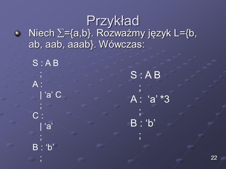 Przykład Niech ={a,b}. Rozważmy język L={b, ab, aab, aaab}. Wówczas: 22 S : A B ; A : | a C ; C : | a ; B : b ; S : A B ; A : a *3 ; B : b ;