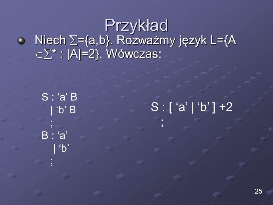 Przykład Niech ={a,b}. Rozważmy język L={A * : |A|=2}. Wówczas: 25 S : a B | b B ; B : a | b ; S : [ a | b ] +2 ;