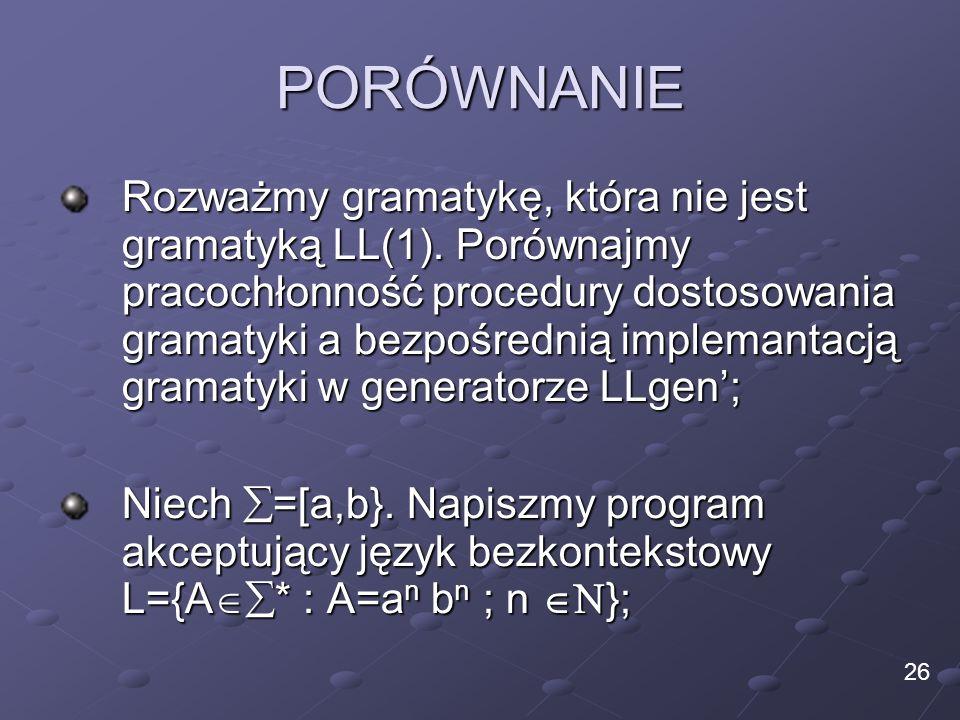PORÓWNANIE Rozważmy gramatykę, która nie jest gramatyką LL(1). Porównajmy pracochłonność procedury dostosowania gramatyki a bezpośrednią implemantacją