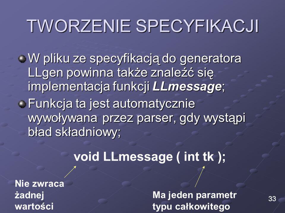TWORZENIE SPECYFIKACJI W pliku ze specyfikacją do generatora LLgen powinna także znaleźć się implementacja funkcji LLmessage; Funkcja ta jest automaty